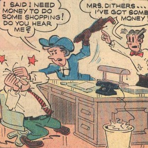 Mr. Dithers get tyrannized by his wife Cora as Dagwood watches on.