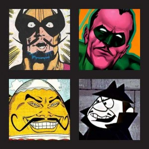 Comic Super Villains with Moustaches